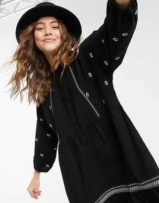 Vero Moda embroidered smock midi dress in black