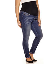 Asstd National Brand Maternity Overbelly Roll Cuff Skinny Jeans - Plus