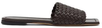 Bottega Veneta Square-toe Intrecciato Leather Mules - Womens - Dark Brown