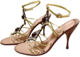 Miu Miu Gold Leather Sandals