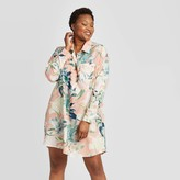 Stars Above Women's Plus Size Floral Print Simply Cool Button-Up Sleep Shirt - Stars AboveTM Coral