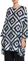 eskandar Button-Front Wide-Back Tie-Dye Silk Top