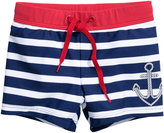 H&M Patterned Swim Trunks - Dark blue/striped - Kids