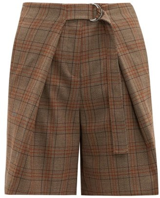 Tibi James Belted Checked Shorts - Brown