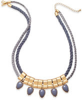 INC International Concepts Gold-Tone Faux-Suede Rope Beaded Bib Necklace, Only at Macy's