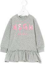 MSGM ruffled hem logo dress
