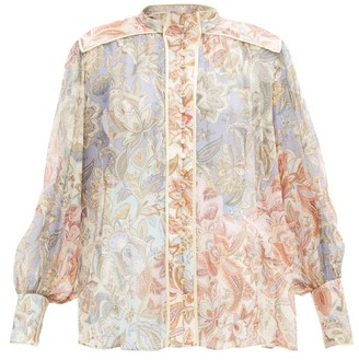 Zimmermann Lucky Bound Floral-print Silk Chiffon Blouse - Multi