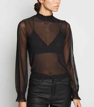 New Look Sheer Mesh Long Sleeve Top