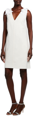 Oscar de la Renta Floral Shoulder Wool-Blend Shift Dress