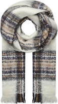 Maje Tartan mohair-blend scarf