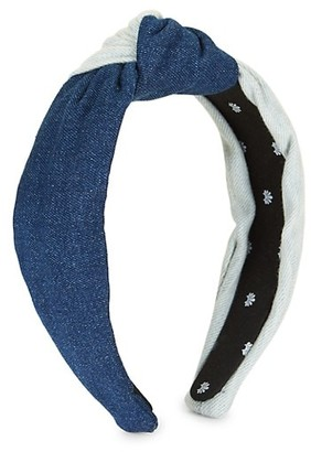Lele Sadoughi Half & Half Denim Knotted Headband