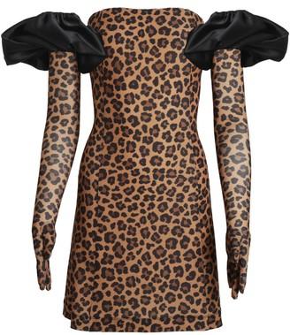Cupid Dress Gloves & Puffs - Leopard Print