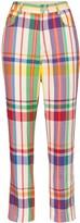 Area crystal-embellished plaid straight-leg trousers
