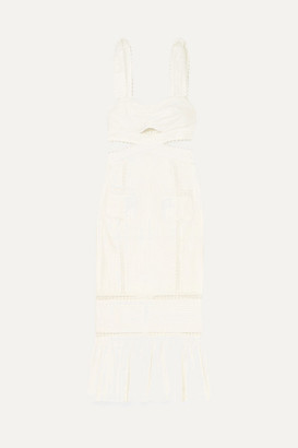 Alice McCall A Foreign Affair Crochet-paneled Pintucked Cotton Dress - Ivory