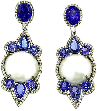 Arthur Marder Fine Jewelry 14K & Silver 3.85 Ct. Tw. Diamond, Tanzanite, & 18Mm Pearl Earrings