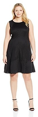 London Times Women's Plus Size Sleeveless Scuba Crepe Fit & Flare Dress