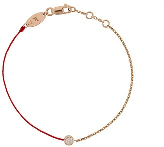 Redline 18kt Rose Gold And Diamond String And Chain Bracelet