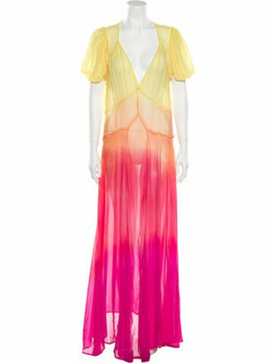 ATTICO Tie-Dye Print Long Dress Yellow