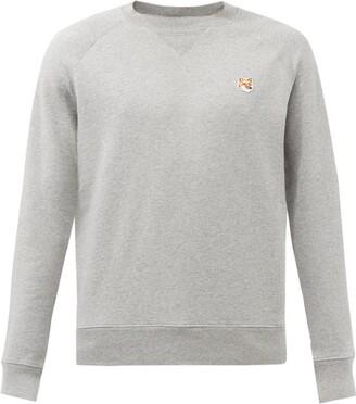 MAISON KITSUNÉ Fox-applique Cotton-jersey Sweatshirt - Grey