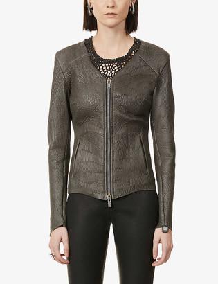 10seiotto Textured leather jacket