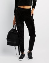 Charlotte Russe Velour Stripe Jogger Pants