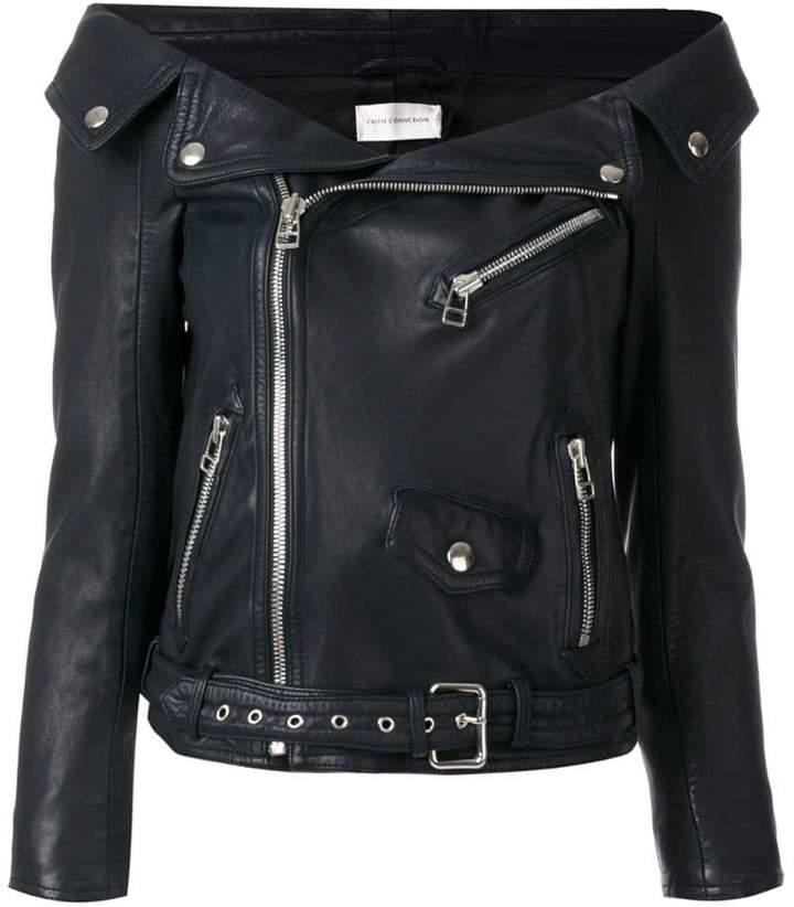 Faith Connexion off the shoulder biker jacket