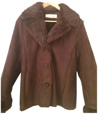 Gerard Darel Brown Fur Coat for Women