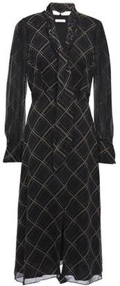 Equipment Calanne Tie-neck Checked Silk-chiffon Midi Dress