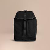 Burberry Leather Trim Lightweight Backpack, Black
