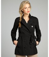 Burberry black cotton blend double breasted belted trench
