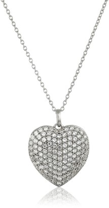 """Pinctore Sterling Silver Created White Sapphire Large Pave Heart Pendant Necklace, 18"""""""