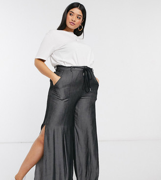 Skylar Rose Plus wide leg trousers in soft chambray with rope tie belt