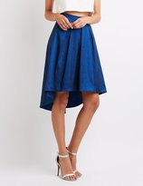 Charlotte Russe Metallic Pleated High-Low Skirt