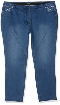 Ulla Popken Women's Jeans mit Stickerei, Komfortbund Curvy, Große Größen Straight,52W / L