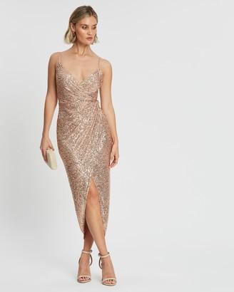 Shona Joy Cross-Over Draped Midi Dress