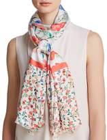 Kate Spade Blossom Floral Print Silk Oblong Scarf