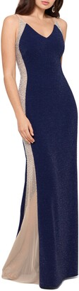 Xscape Evenings Beaded Illusion Mesh & Jersey Gown