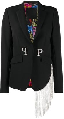 Philipp Plein PP crystal fringe blazer