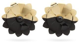 Marine Serre Upcycled Flower-shaped Metal Clip Earrings - Womens - Black