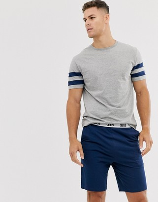 Asos Design DESIGN lounge pyjama short and tshirt set with stripe and branded waistband in navy