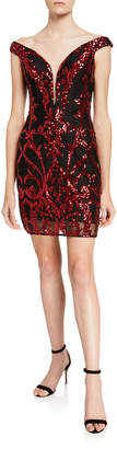 Jovani Sequin Embellished Off-the-Shoulder Short Dress