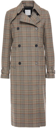 Sandro Stain Double-breasted Prince Of Wales Checked Woven Trench Coat