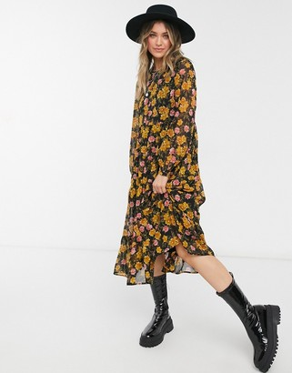 Pieces chiffon midi smock dress in black and mustard floral