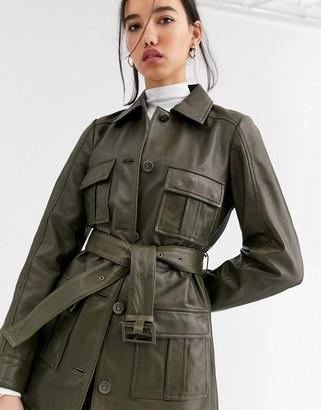 Muu Baa Muubaa belted utility patent leather jacket in olive