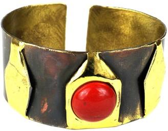Global Crafts Handmade Red Jasper Brass Cuff