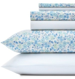 Laura Ashley Jaynie/Ticking Stripe Sheet Set, Queen Bedding
