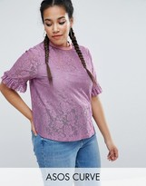 Asos T-Shirt in Lace with Ruffle Sleeve and Stripe Tipping