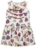 Gucci Butterfly-Print Sleeveless Dress w/ Web Trim, Size 4-12