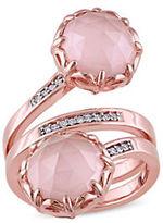 Catherine Malandrino 18K Goldplated 0.10TCW Diamond and Guava Quartz Wrap Ring