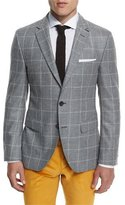 HUGO BOSS Jayson Windowpane Two-Button Sport Coat, Gray